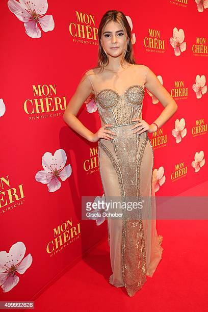 Stefanie Giesinger wearing a dress by Samuel Sohebi during the Mon Cheri Barbara Tag 2015 at Postpalast on December 4 2015 in Munich Germany