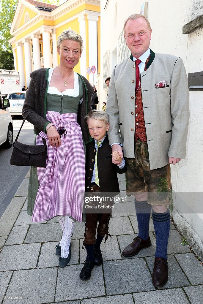 Stefanie Haag, daughter of Angela Wepper and Ferfried von Hohenzollern, half sister of Sophie Wepper and her husband Martin Haag and their son Konstantin Haag during the wedding of Sophie Wepper and David Meister outside the registry office at Mandlstrasse on May 4, 2016 in Munich, Germany.