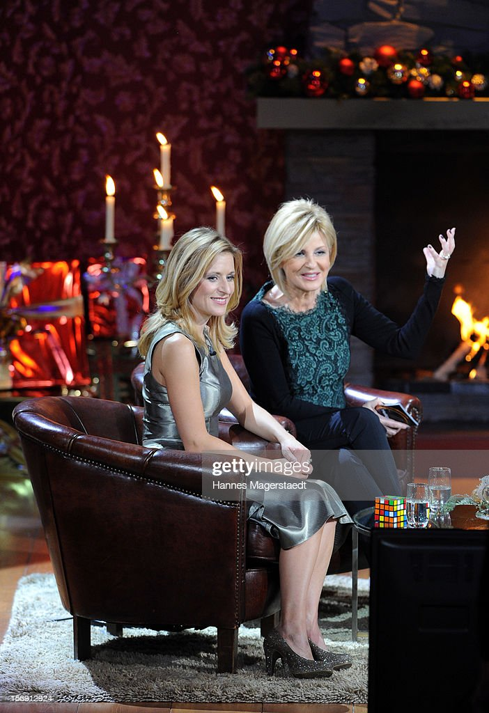 Stefanie Hertel and Carmen Nebel attend the 'Heiligabend Mit Carmen Nebel' Show Taping at the Bavaria Studios on November 24, 2012 in Munich, Germany.