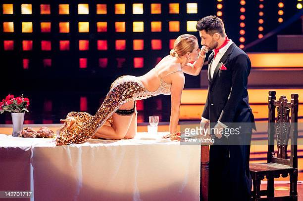 Stefanie Hertel and Sergiy Plyuta perform during 'Let's Dance' 5th Show at Coloneum on April 11 2012 in Cologne Germany