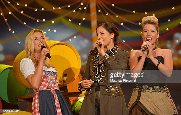 Stefanie Hertel Anita Hofmann Alexandra Hofmann from left perform during the rehearsal of the tv show 'Stefanie Hertel Meine Stars' on September 23...