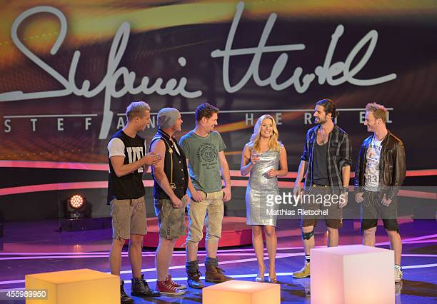 Stefanie Hertel center and members of VoXXclub perform during the rehearsal of the tv show 'Stefanie Hertel Meine Stars' on September 23 2014 in...