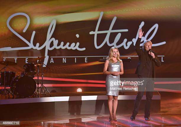 Stefanie Hertel left and Bernhard Brink performs during the rehearsal of the tv show 'Stefanie Hertel Meine Stars' on September 23 2014 in Zwickau...