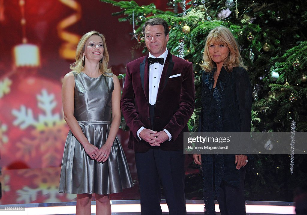 Stefanie Hertel, Patrick Lindner and Lena Valaitis attend the 'Heiligabend Mit Carmen Nebel' Show Taping at the Bavaria Studios on November 24, 2012 in Munich, Germany.