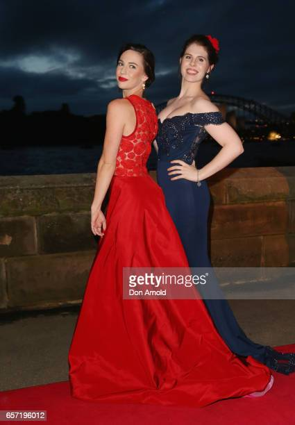 Stefanie Jones and Caitlyn Berry arrive ahead of opening night of Handa Opera's production of Carmen at Sydney Harbour on March 24 2017 in Sydney...