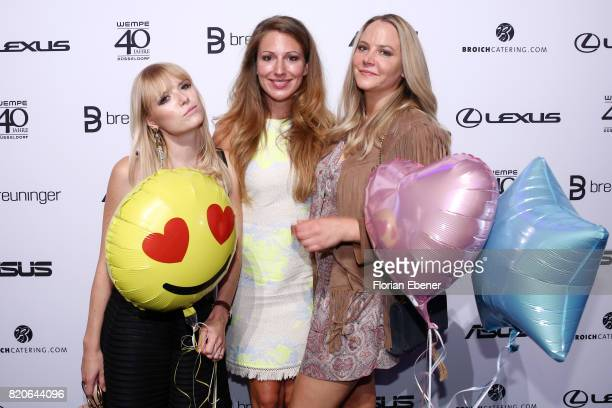 Stefanie Klaeser Mara Bergmann and Tiana Pongs attend the Breuninger after party during Platform Fashion July 2017 at Areal Boehler on July 21 2017...