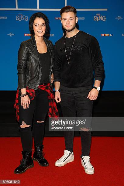 Stefanie Kloss and Nicolas Lazaridis attend the European premiere of 'Sing' at Cinedom on November 27 2016 in Cologne Germany