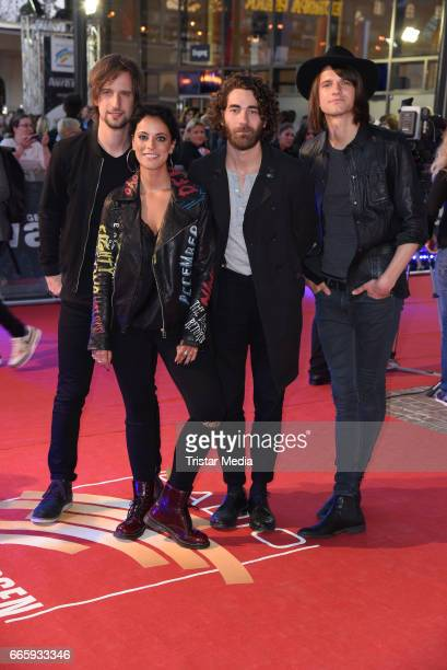 Stefanie Kloss Andreas Nowak Thomas Stolle and Johannes Stolle of the band Silbermond attend the Radio Regenbogen Award 2017 at EuropaPark on April 7...