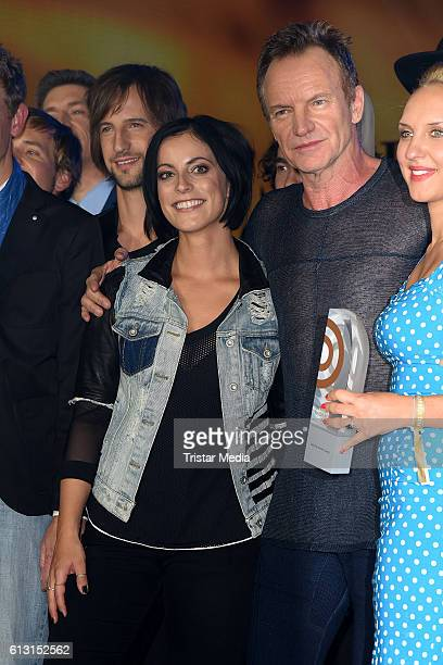 Stefanie Kloss of Silbermond and Gordon Sumner of Sting attend the Deutscher Radiopreis 2016 on October 6 2016 in Hamburg Germany