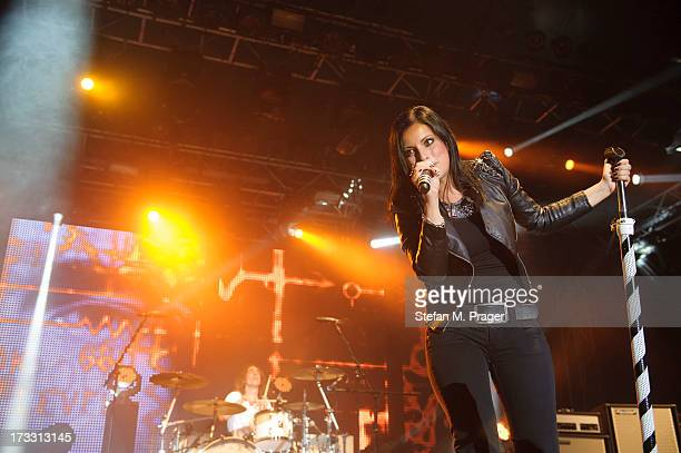 Stefanie Kloss of Silbermond performs at Tollwood Festival on July 11 2013 in Munich Germany