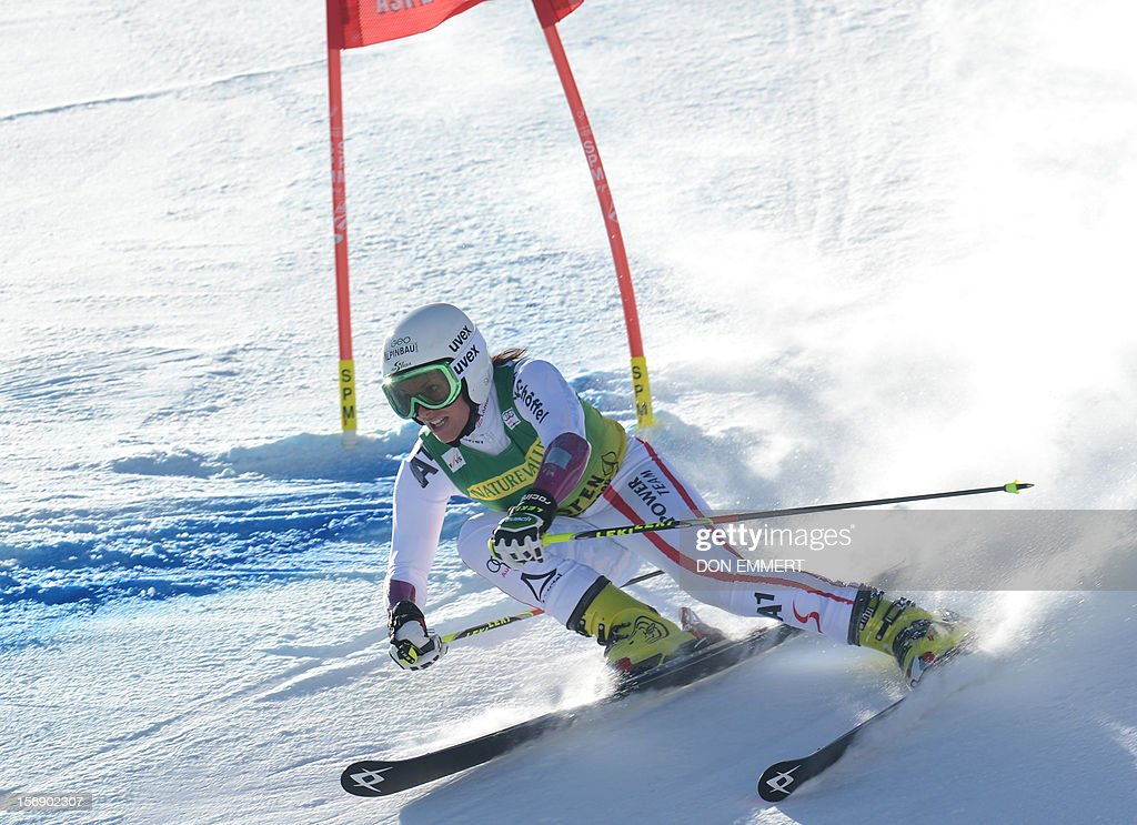 Stefanie Koehle of Austria clears a gate during the first run of the women's World Cup giant slalom in Aspen on November 24, 2012. AFP PHOTO/Don EMMERT