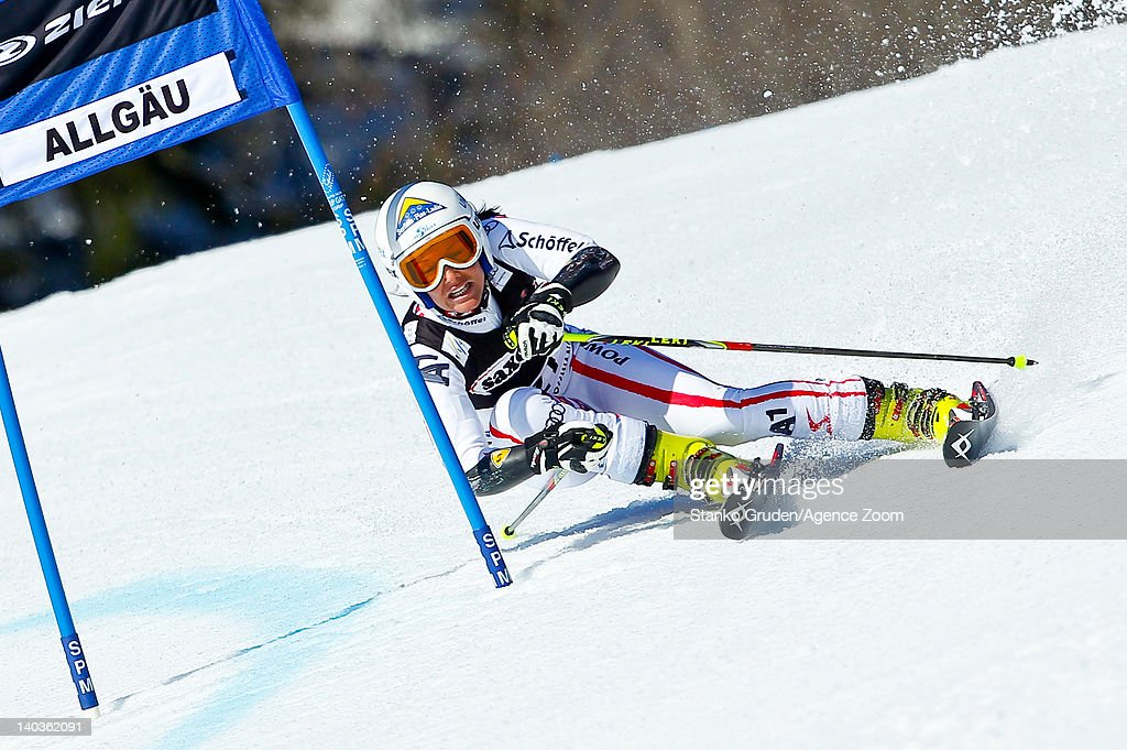 <a gi-track='captionPersonalityLinkClicked' href=/galleries/search?phrase=Stefanie+Koehle&family=editorial&specificpeople=5589543 ng-click='$event.stopPropagation()'>Stefanie Koehle</a> of Austria competes during the Audi FIS Alpine Ski World Cup Women's Giant Slalom on March 2, 2012 in Ofterschwang, Germany.