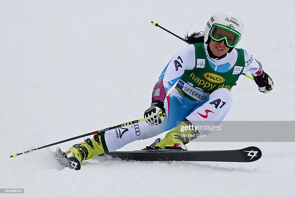 <a gi-track='captionPersonalityLinkClicked' href=/galleries/search?phrase=Stefanie+Koehle&family=editorial&specificpeople=5589543 ng-click='$event.stopPropagation()'>Stefanie Koehle</a> of Austria races down the course whilst competing in the Audi FIS Alpine Skiing World Cup giant slalom race on March 09, 2013 in Ofterschwang, Germany,