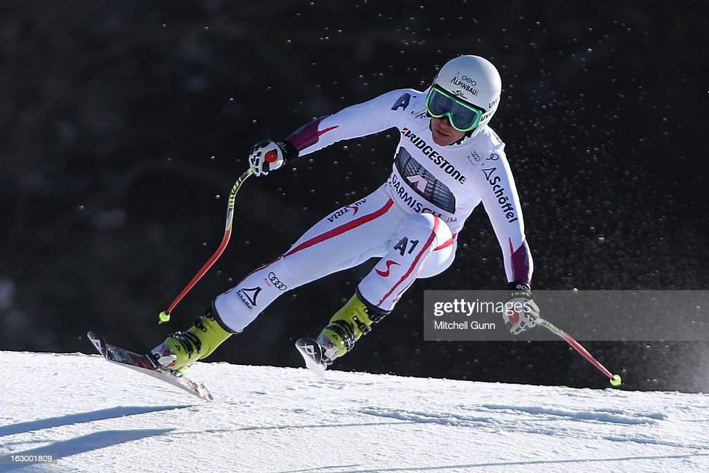 <a gi-track='captionPersonalityLinkClicked' href=/galleries/search?phrase=Stefanie+Koehle&family=editorial&specificpeople=5589543 ng-click='$event.stopPropagation()'>Stefanie Koehle</a> of Austria races down the hill whilst competing in the Audi FIS Ski World Cup Super-G race on March 03, 2013 in Garmisch Partenkirchen, Germany.