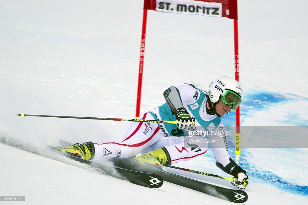 Stefanie Koehle of Austria races down the piste during the Audi FIS Alpine Ski World Giant Slalom race on December 9 2012 in St Moritz, Switzerland.