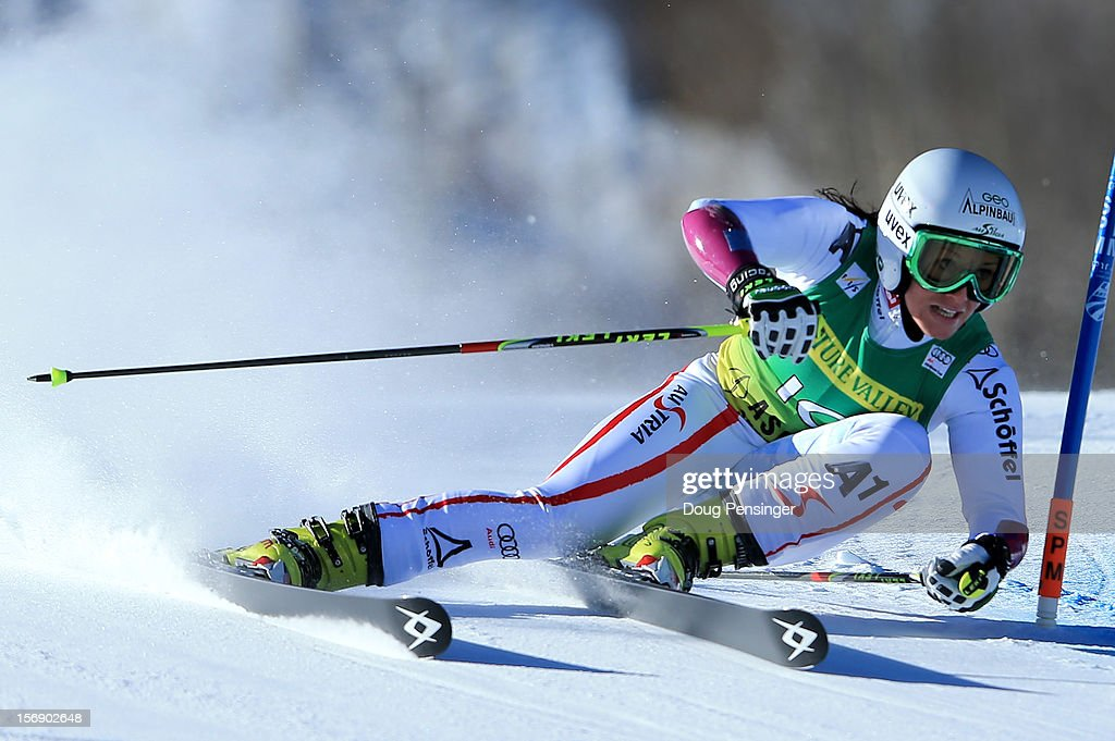 <a gi-track='captionPersonalityLinkClicked' href=/galleries/search?phrase=Stefanie+Koehle&family=editorial&specificpeople=5589543 ng-click='$event.stopPropagation()'>Stefanie Koehle</a> of Austria skis the first run of the women's giant slalom at the Nature Valley Aspen Winternational Audi FIS Ski World Cup at Aspen Mountain on November 24, 2012 in Aspen, Colorado.