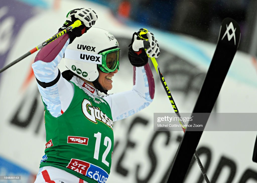 <a gi-track='captionPersonalityLinkClicked' href=/galleries/search?phrase=Stefanie+Koehle&family=editorial&specificpeople=5589543 ng-click='$event.stopPropagation()'>Stefanie Koehle</a> of Austria takes 3rd place during the Audi FIS Alpine Ski World Cup Women's Giant Slalom on October 27, 2012 in Solden, Austria.