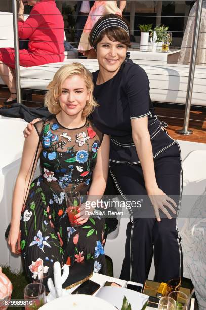 Stefanie Martini and Gemma Arterton attend the Audi Polo Challenge at Coworth Park on May 7 2017 in Ascot United Kingdom