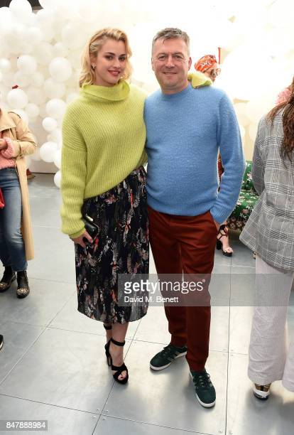 Stefanie Martini and Markus Lupfer attend the Markus Lupfer SS18 presentation during London Fashion Week September 2017 on September 16 2017 in...