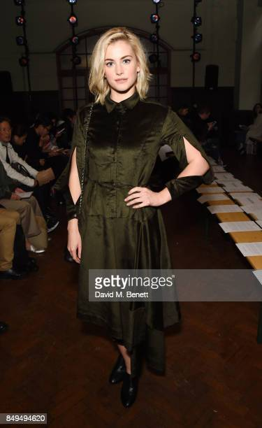 Stefanie Martini attends the palmer//harding SS18 catwalk show during London Fashion Week September 2017 at The College on September 19 2017 in...