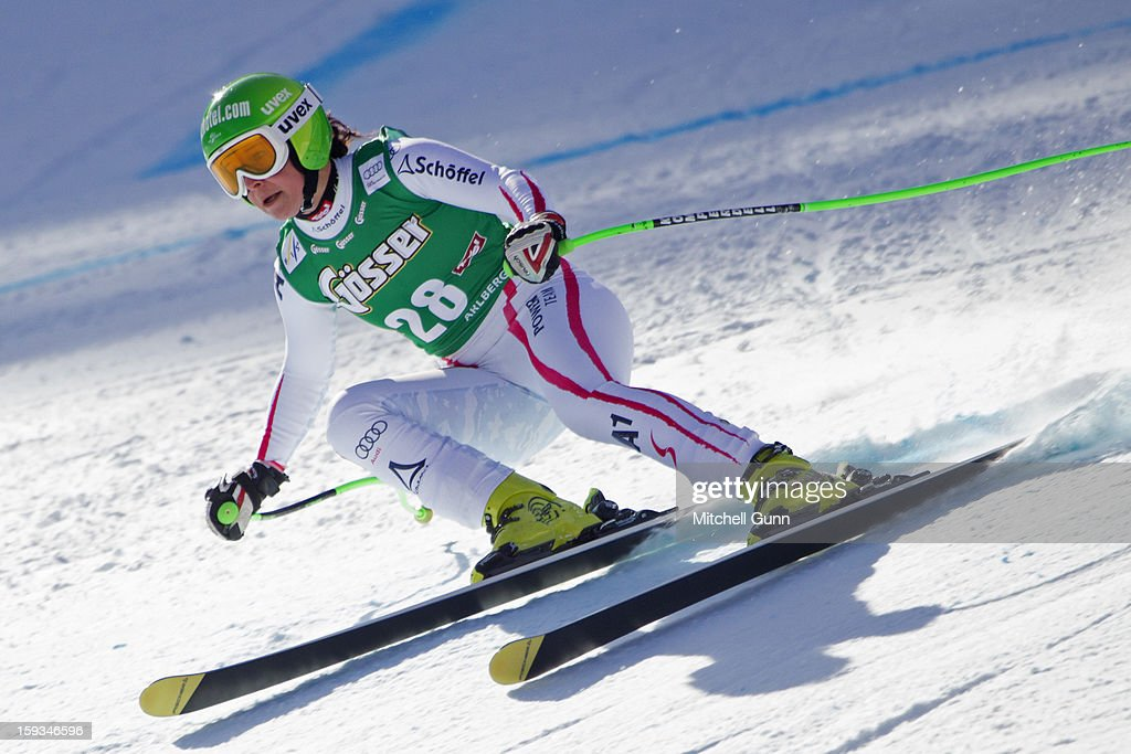 Stefanie Moser of Austria races down the Kandahar course whilst competing in the Audi FIS Alpine Ski World Cup downhill race on January 12, 2013 in St Anton, Austria.
