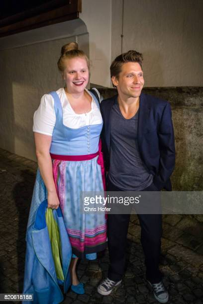 Stefanie Reinsperger and Hanno Koffler attend the 'Jedermann' premiere celebration during the Salzburg Festival 2017 on July 21 2017 in Salzburg...
