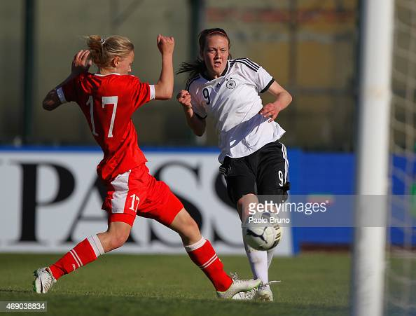 Stefanie Sanders of Germany scores the team's fourth goal during the UEFA Under17 women's Elite Round match between U17 Germany and U17 Belarus at...