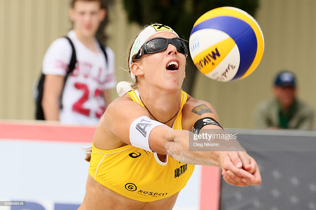 Stefanie Schwaiger of Austria receives a ball during day 4 of FIVB Sochi Open presented by VTB on May 6, 2016 in Sochi, Russia.