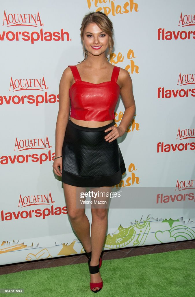 Stefanie Scott arrives at Aquafina FlavorSplash Launch Party With Austin Mahone & Nick Cannon at Sony Pictures Studios on October 15, 2013 in Culver City, California.