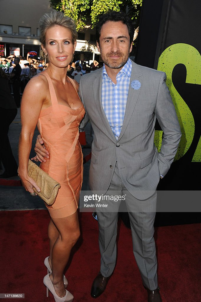 Stefanie Sherk and actor <a gi-track='captionPersonalityLinkClicked' href=/galleries/search?phrase=Demian+Bichir&family=editorial&specificpeople=604427 ng-click='$event.stopPropagation()'>Demian Bichir</a> arrive at Premiere of Universal Pictures' 'Savages' at Westwood Village on June 25, 2012 in Los Angeles, California.