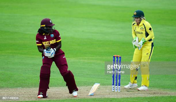 Stefanie Taylor of West Indies bats as her bat breaks in half during the ICC Women's World Cup 2017 match between Australia and West Indies at The...