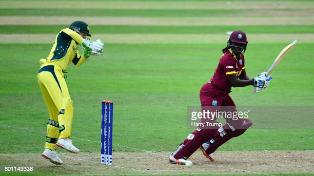 Stefanie Taylor of West Indies bats during the ICC Women's World Cup 2017 match between Australia and West Indies at The Cooper Associates County...