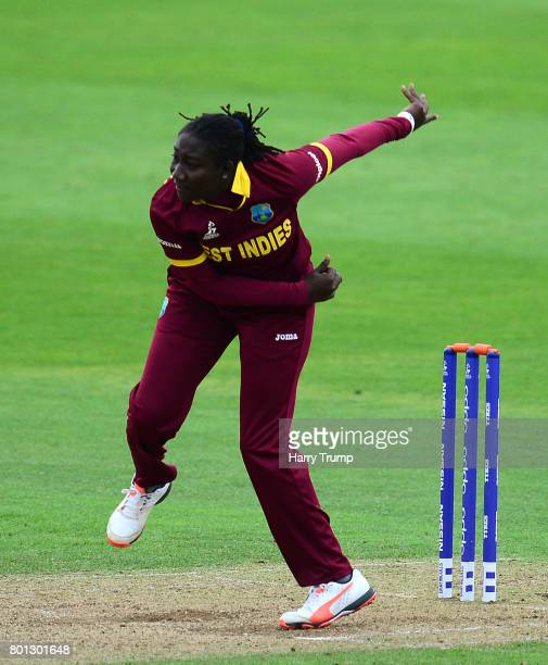Stefanie Taylor of West Indies bowls during the ICC Women's World Cup 2017 match between Australia and West Indies at The Cooper Associates County...