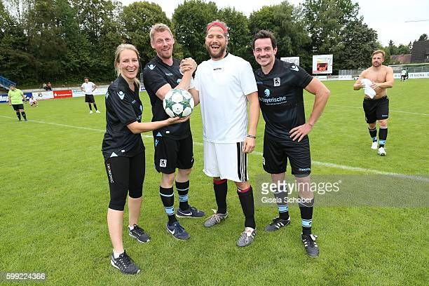 Stefanie von Poser Martin Gruber and Sebastian Stroebel the former 'Bergretter' and the new one and Markus Brandl during the charity football game...