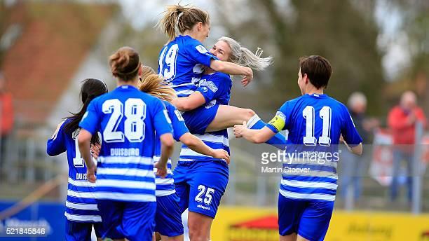 Stefanie Weichelt of Duisburg celebrates her goal during the Women's 2nd Bundesliga match between BV Cloppenburg and MSV Duisburg on April 17 2016 in...