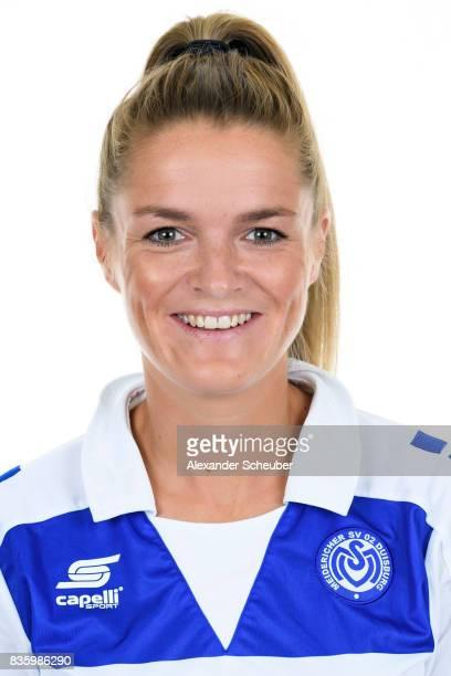 Stefanie Weichelt of MSV Duisburg poses during the Allianz Frauen Bundesliga Club Tour at MSV Duisburg on August 17 2017 in Duisburg Germany