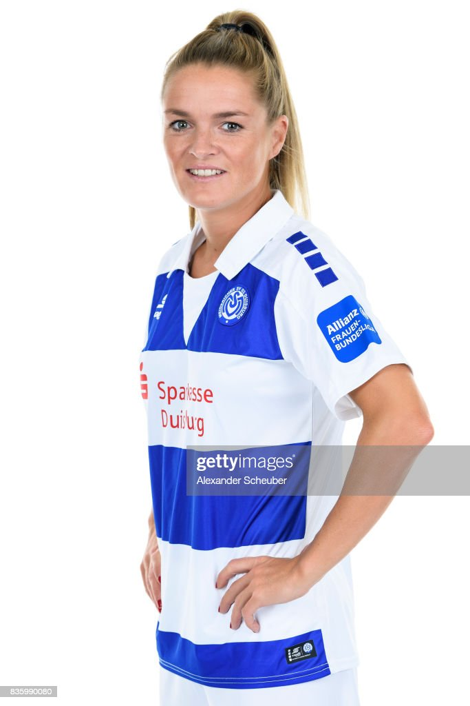 Stefanie Weichelt of MSV Duisburg poses during the Allianz Frauen Bundesliga Club Tour at MSV Duisburg on August 17, 2017 in Duisburg, Germany.