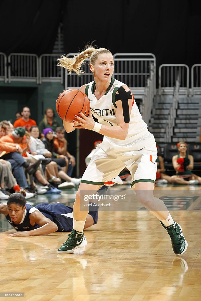 Stefanie Yderstrom #3 of the Miami Hurricanes controls the ball against the Penn State Lady Lions on November 29, 2012 at the BankUnited Center in Coral Gables, Florida. Miami defeated Penn State 69-65.