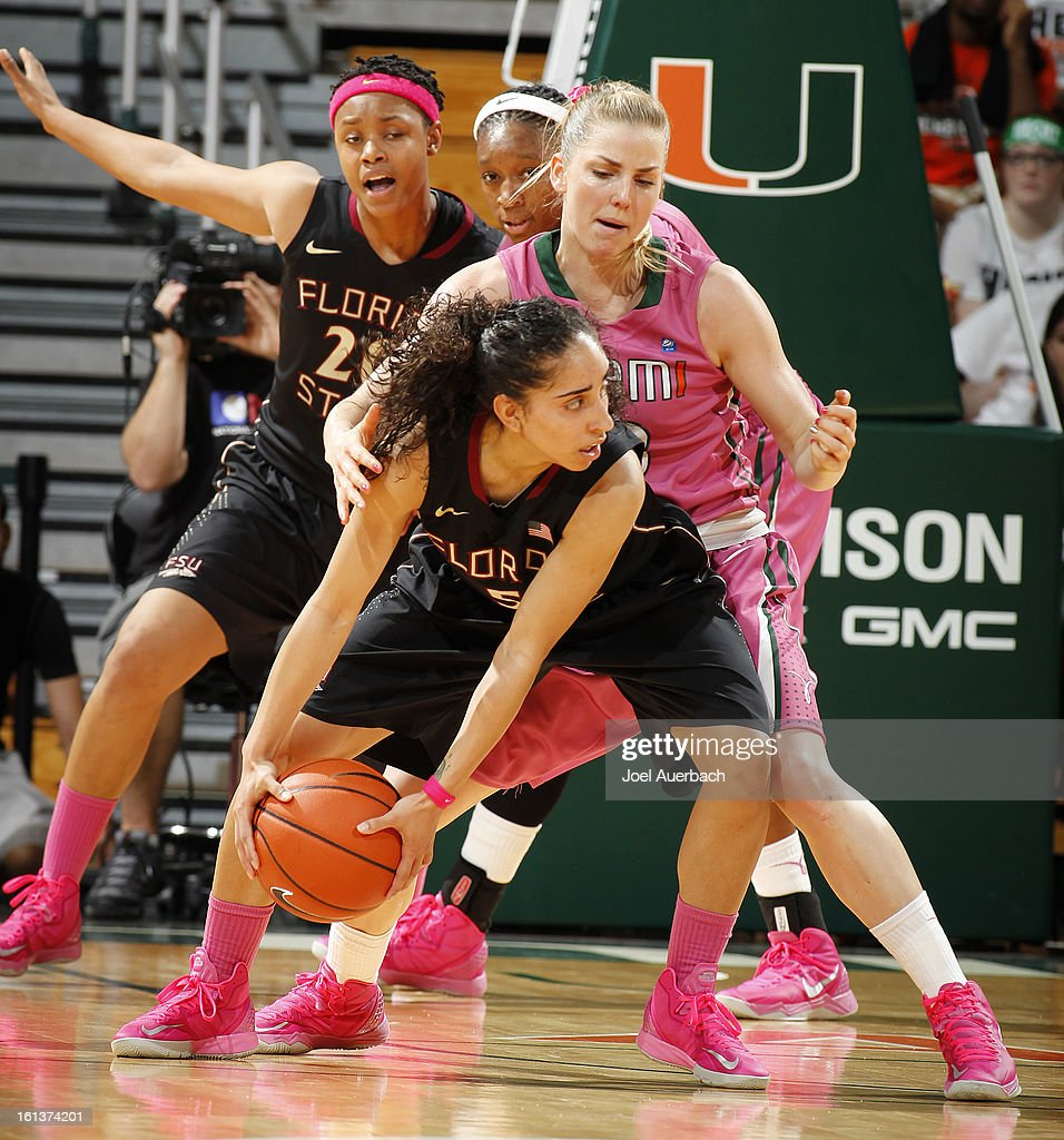 Stefanie Yderstrom #3 of the Miami Hurricanes defends against Yashira Delgado #5 of the Florida State Seminoles on February 10, 2013 at the BankUnited Center in Coral Gables, Florida.