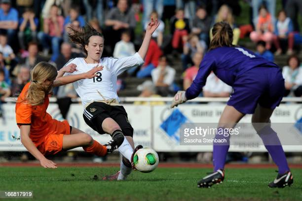 StefanieAntonia Sanders of Germany scores a goal during the International friendly match between U15 Germany and U16 Netherlands at Huelsparkstadion...
