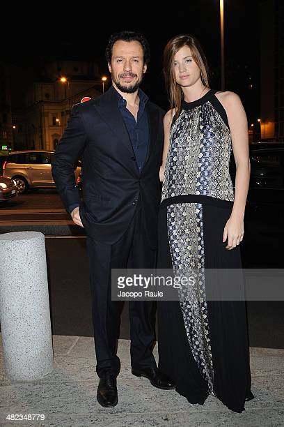 Stefano Accorsi and Bianca Vitali arrive at Sky Atlantic Presents Game Of Thrones on April 3 2014 in Milan Italy