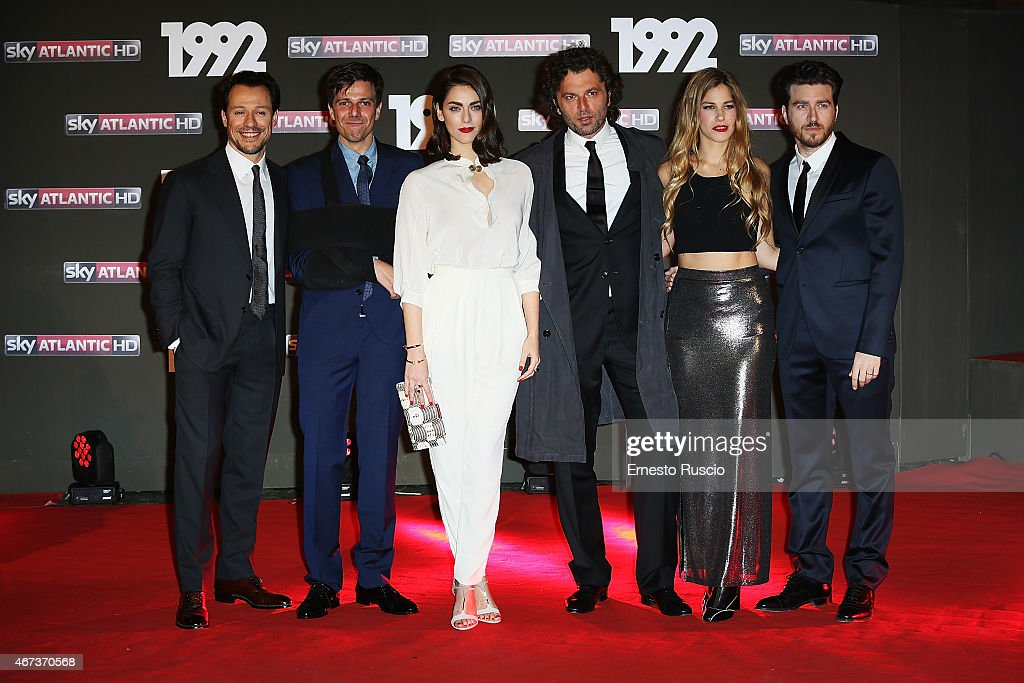 Stefano Accorsi, Domenico Diele, Miriam Leone, Guido Caprino, Tea Falco, Alessandro Roja attend the '1992' Tv Movie premiere at The Space Moderno on March 19, 2015 in Rome, Italy.