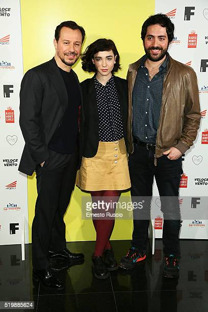 Stefano Accorsi Matilda De Angelis and Matteo Rovere attend the 13rd Fabrique Du Cinema Presentation at Capitol Club on April 8 2016 in Rome Italy