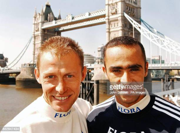 Stefano Baldini of Italy and Jaouad Gharib of Morocco during a photo call at The Thistle Hotel London