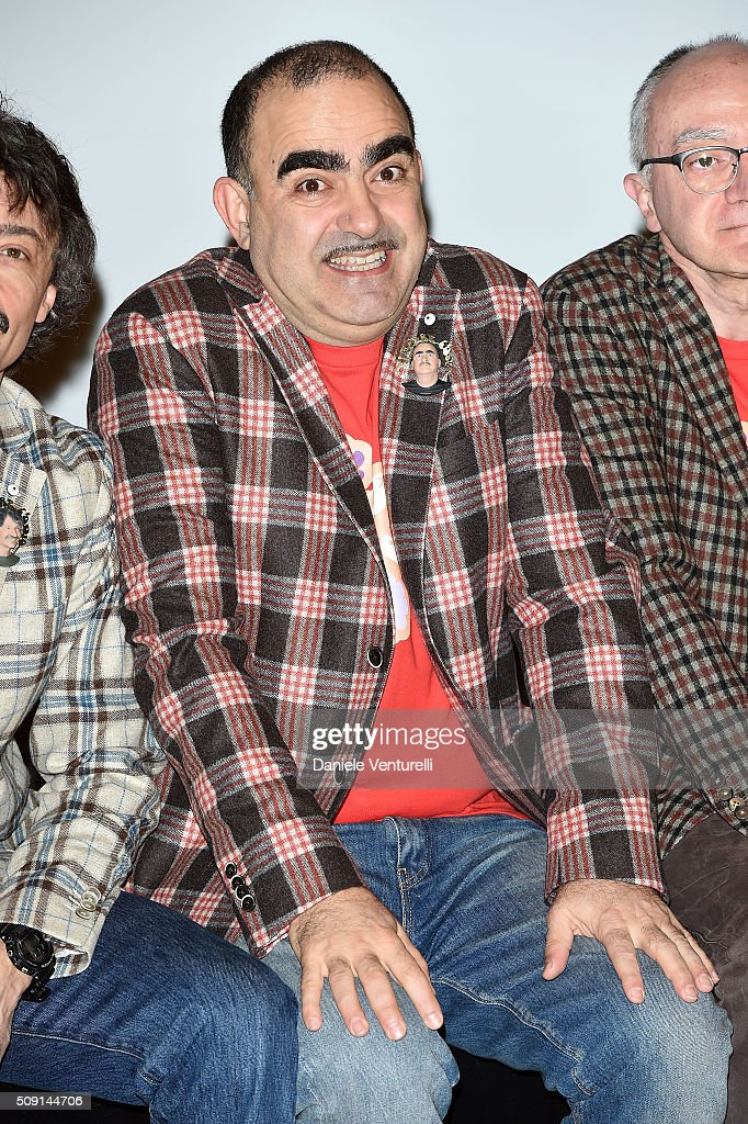 Stefano Belisari of the Elio e le Storie Tese attends a photocall at 66. Sanremo Festival at Teatro Ariston on February 9, 2016 in Sanremo, Italy.