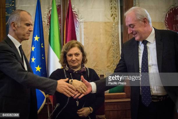 Stefano Bina Pinuccia Montanari and Armido Maran during the signing of memorandum of Understanding with Assobioplastiche at the Capitol