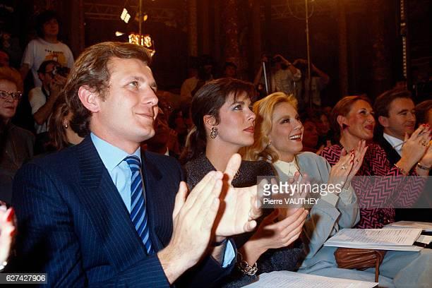Stefano Casiraghi Princess Caroline of Monaco and singer Sylvie Vartan attend a 1985 springsummer haute couture fashion show in Paris