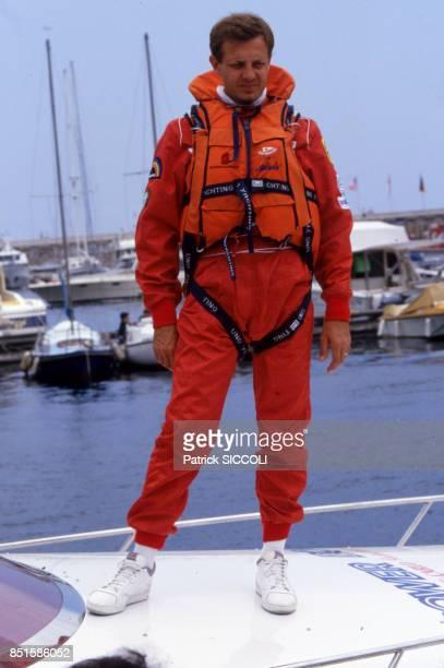 Stefano Casiraghi sur son bateau à Monaco le 6 juin 1987
