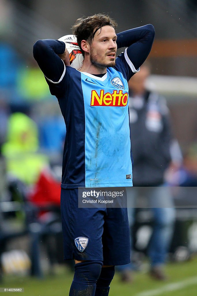 Stefano Celozzi of Bochum does a throwin during the 2 Bundesliga match between VfL Bochum and Arminia Bielefeld at Rewirpower Stadium on March 6 2016...