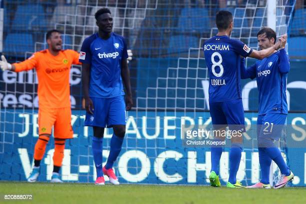 Stefano Celozzi of Bochum R celebrates the first goal with Anthony Losilla nd R during the preseason friendly match between VfL Bochum and Borussia...
